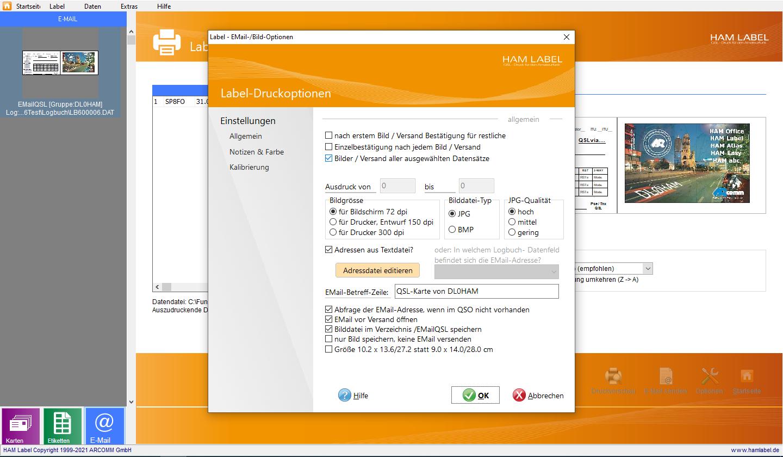 Optionen für EMail-QSL